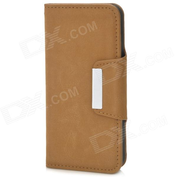 Stylish Protective PU Leather Case for Iphone 5 - Brown protective heart shape rhinestone decoration back case for iphone 5 brown