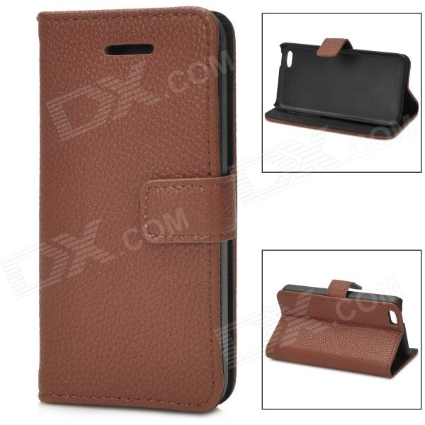 Lychee Grain Style Protective PU Leather Case for Iphone 5C - Brown