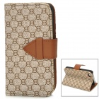 8 Pattern Protective PU Leather Case for Iphone 4 / 4S - Grey + Brown