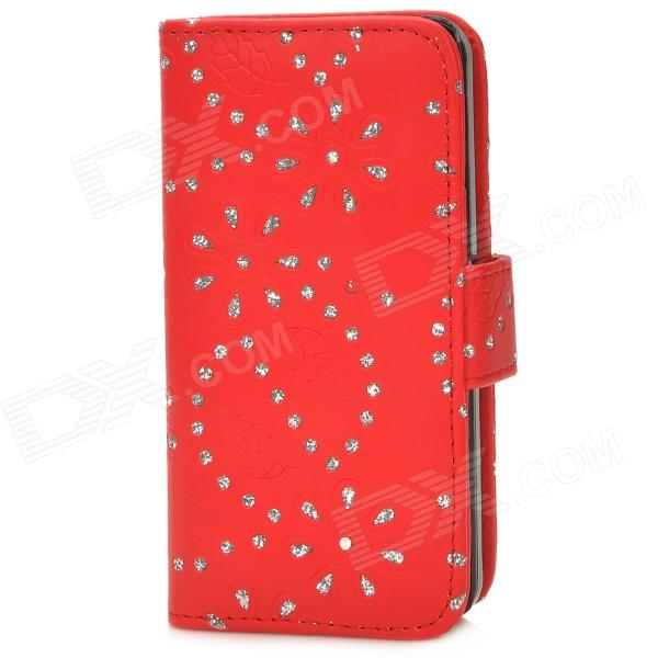 Flower & Leaf Style Protective PU Leather Case for Iphone 5C - Red + Silver аксессуар чехол apple iphone se leather case red mr622zm a