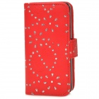Flower & Leaf Style Protective PU Leather Case for Iphone 5C - Red + Silver