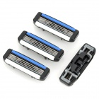 DORCO TRA1040 Replacement 3-blade Razor Head for Manual Shaver - Blue + Black (4 PCS)