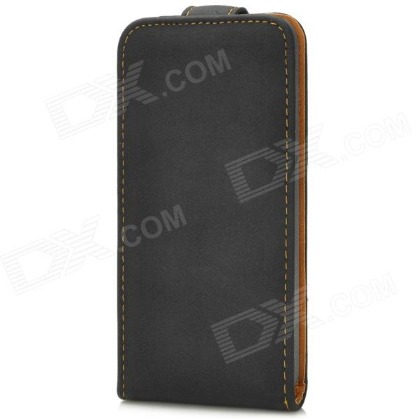 Retro Protective Flip-Open PU Leather Case for Iphone 5C - Black protective pu leather flip open case for iphone 4 4s black