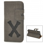 Cartoon Bone Style Protective PU Leather Case for Iphone 5 - Grey + Black