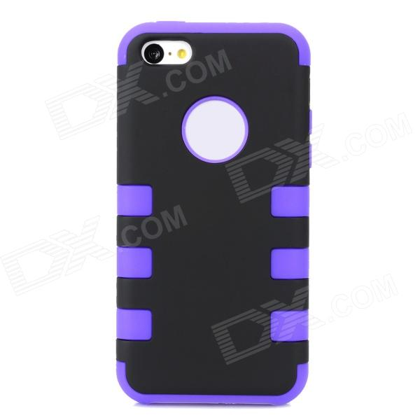 Protective 3-in-1 Assembly Plastic Case for Iphone 5C -Black + Purple 3 in 1 cool protective plastic silicone case for iphone 5c black blue