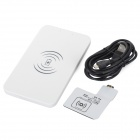 5V 1000mAh Qi USB Wireless Charger w/ Receiver for Samsung Galaxy S4 i9500 - White
