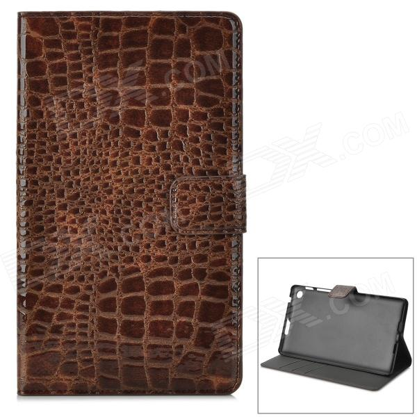 Snakeskin Pattern Protectve 2-Fold PU Leather Case for Google Nexus 7 II - Coffee lichee pattern protective pu leather case stand w auto sleep cover for google nexus 7 ii white