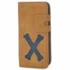 Cartoon Bone Style Protective PU Leather Case for Iphone 5 - Brown + Blue