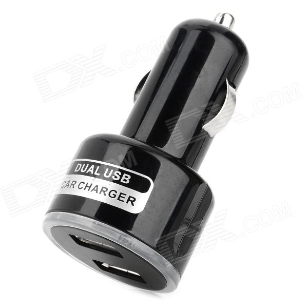 2.1A Mini Dual USB Car Power Charger w/ Blue LED - Black (DC 12~24V)