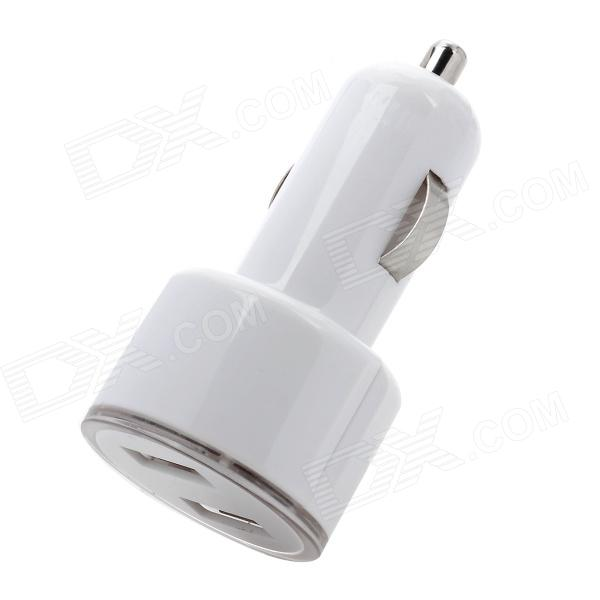 Mini Dual USB Car Power Charger w/ Blue LED - White (12~24V) janse football foot style 15w dual usb eu plug power charger car charger white