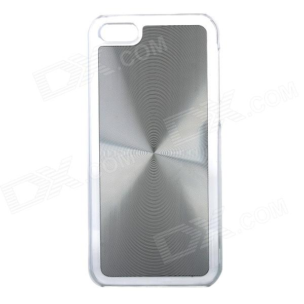 Stylish CD Grain Style Protective Aluminum Alloy + PC Back Case for Iphone 5C - Silver + Transparent