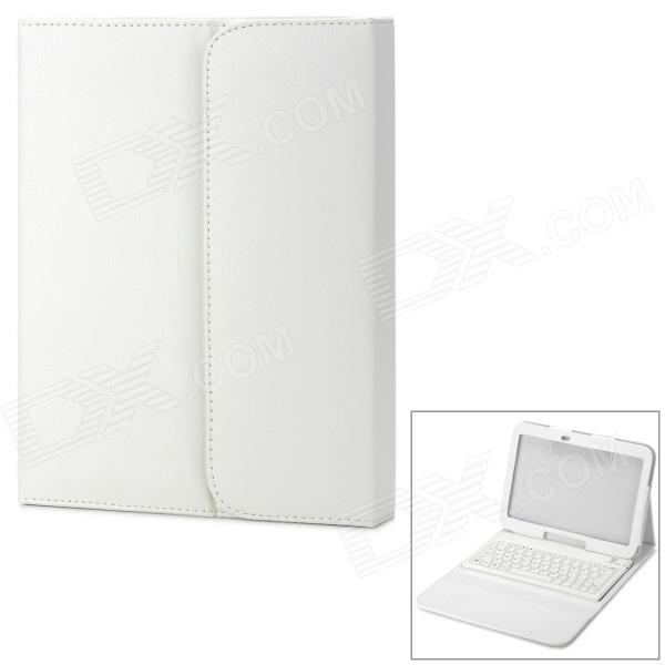 Waterproof Silicone Bluetooth V3.0 Keyboard Case for Samsung P5200 - White