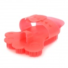 Rubber Massaging Bathing Palm-Brush for Pets - Red