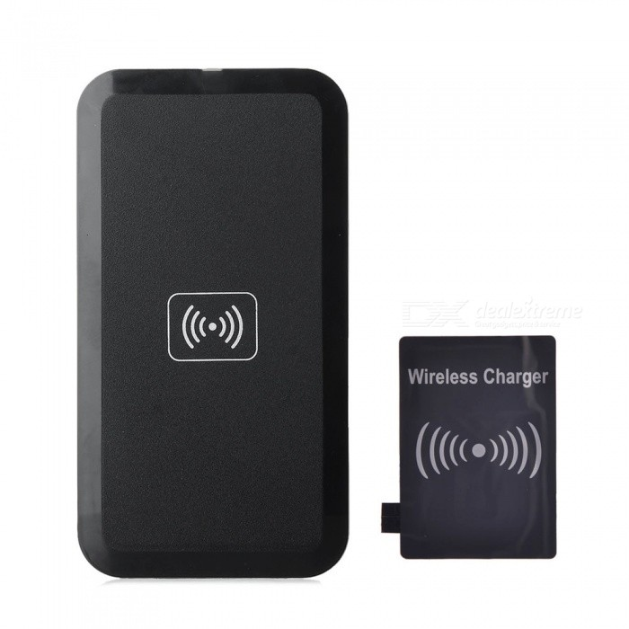 5V 1000mAh Qi USB Wireless Charger w/ Receiver for Samsung Galaxy S3 i9300 - Black