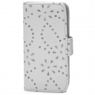 Flower & Leaf Style Protective PU Leather Case for Iphone 5C - White + Silver