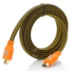 HDMI Male to Male Braid Flat Video Cable - Orange + Black + Yellow (1.8m)