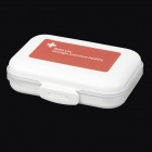 E820  8-Compartment Portable Pill Case - White + Red