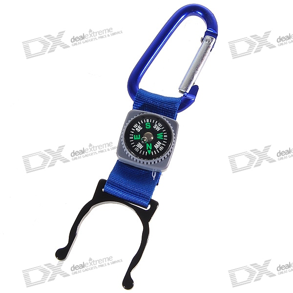 Aluminum Carabiner Clip + Compass + Water Bottle Holder (Color Assorted)