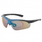 OBAOLAY Sporty Goggles + Replacement Lenses Set for Cycling & Outdoor Exercises - Black + Blue