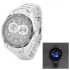 TVG KM468 Sport Stainless Steel Quartz Analog + Digital Wrist Watch w/ LED for Men - Black + Silver