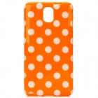 Protective Polka Dot TPU Back Case for Samsung Galaxy Note 3 / N9000 - Orange + White