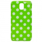 Protective Polka Dot TPU Back Case for Samsung Galaxy Note 3 / N9000 - Green + White