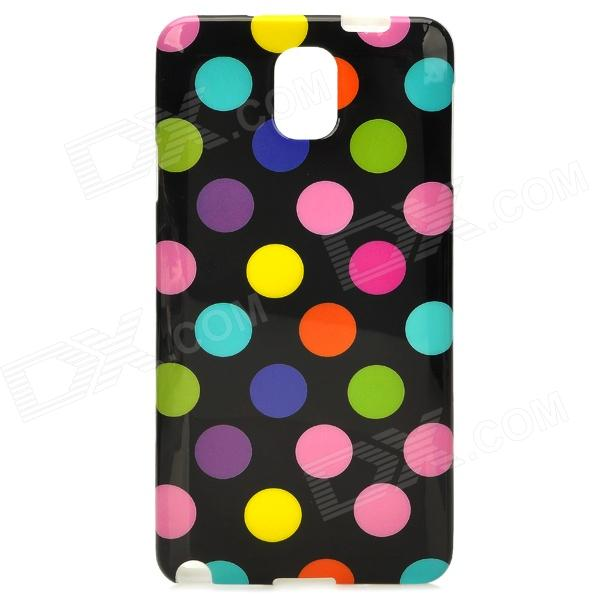 Protective Polka Dot TPU Back Case for Samsung Galaxy Note 3 / N9000 - Black + Colorful 2 in 1 detachable protective tpu pc back case cover for samsung galaxy note 4 black