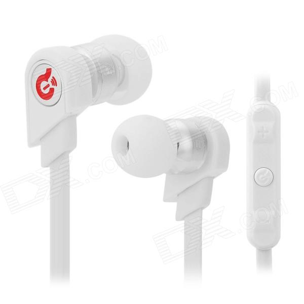 Syllable G02-004 Stylish In-Ear Earphones w/ Microphone / Cable Control for Samsung - White + Silver unt 28 retractable in ear earphones for iphone cellphone more white 3 5mm plug 120cm cable