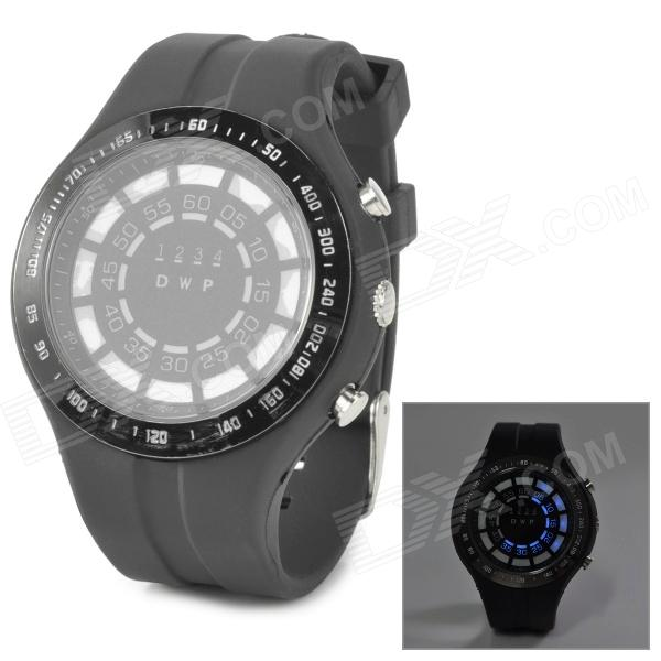 TVG KM1208 Men's Stylish Blue LED Sports Water Resistant Digital Wrist Watch - Black (2 x CR2016)