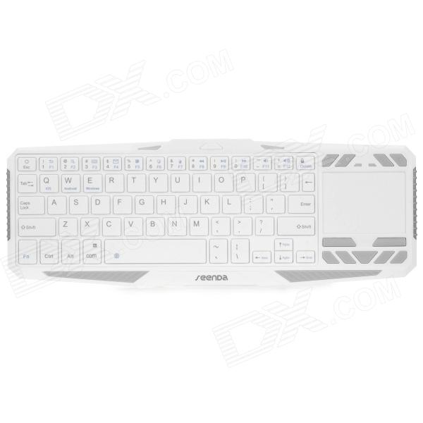 Seenda IBK-02 Wireless Bluetooth V3.0 Touchpad 75-Key Keyboard w/ Tablets Stand - White + Grey universal dechatable bluetooth keyboard w touchpad