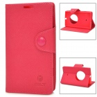 Protective PU Leather Flip Open Case w/ Strap for Nokia Lumia 1020 - Deep Pink