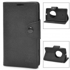 Protective PU Leather Case w/ Card Holder Slots / Hand Strap for Nokia Lumia 1020 - Black