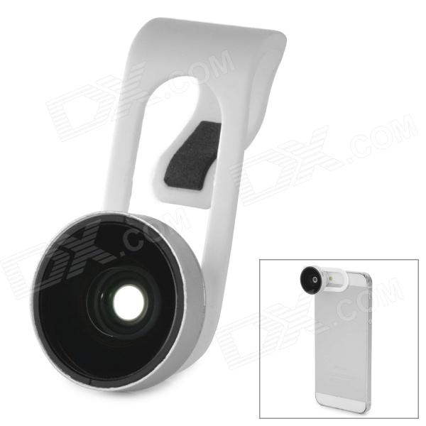 Clip-On ABS + Glass Fish Eye for Samsung / HTC / Iphone / Tablet PC - White universal 2 in 1 0 65x wide angle macro lens glass filter for cellphone tablet pc black