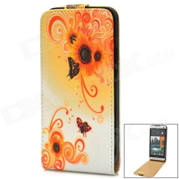 Flower Style Protective Flip-Open PU Leather Case for HTC One M7 - Yellow + White genuine leather protective flip open case for htc one m7 black
