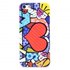 Protective Scrawl Man and Woman Plastic Back Case for Iphone 5 - Colorful