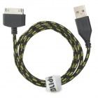 Lidu Nylon Housing USB Male to Apple 30 Pin Data / Charging Cable for iPhone 4S / iPad 3 - Black