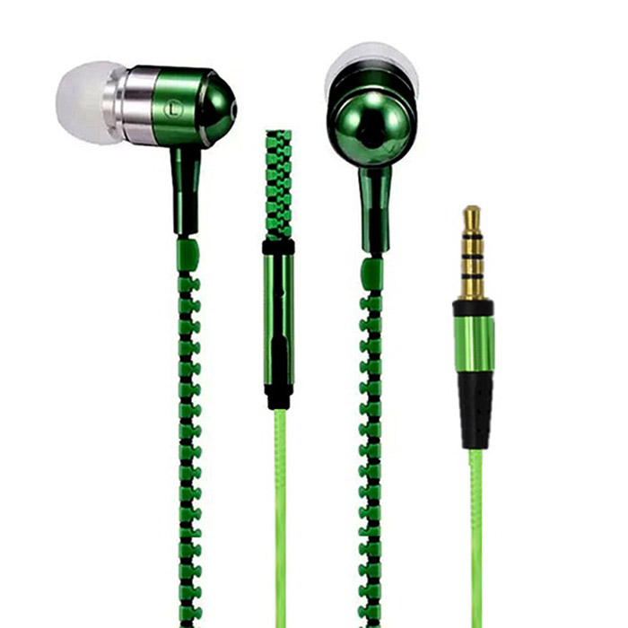 AE-01 Zipper-like Pattern In-Ear Earphone - Black + Green (3.5mm Plug / 119cm)