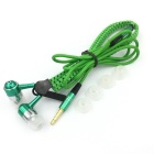 Zipper-like Pattern In-Ear Earphone - Black + Green (3.5mm Plug / 119cm)