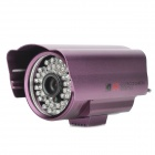 Waterproof Digital 1/3 CCD 600TVL CCTV Camera w/ 48-IR LED - Purple