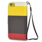 Stylish Flip-open PU Leather Case w/ Holder + Card Slot for Iphone 5C - Multicolored