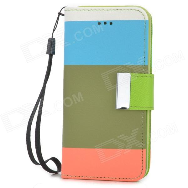 купить Stylish Flip-open PU Leather Case w/ Holder + Card Slot for Iphone 5C - Multicolored недорого
