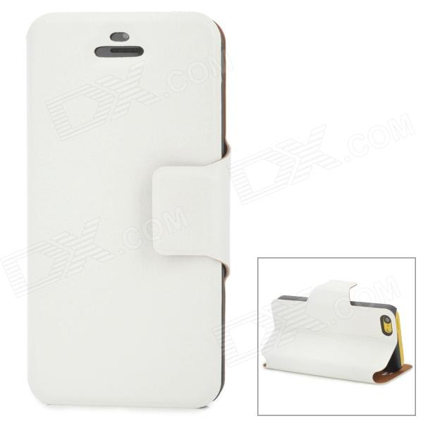 Classic Flip-open PU Leather + PC Case w/ Holder + Card Slot for Iphone 5S - White смартфон apple iphone 7 plus 32gb black mnqm2ru a