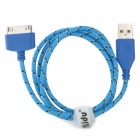 Lidu Nylon Housing USB Male to Apple 30 Pin Data / Charging Cable for iPhone 4S / iPad 3 - Blue