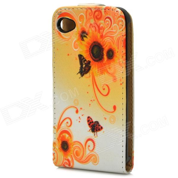 Flower Style Protective Flip-Open PU Leather Case for Iphone 4 / 4S - Yellow + White + Black protective pu leather flip open case for iphone 4 4s black