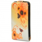 Flower Style Protective Flip-Open PU Leather Case for Iphone 4 / 4S - Yellow + White + Black