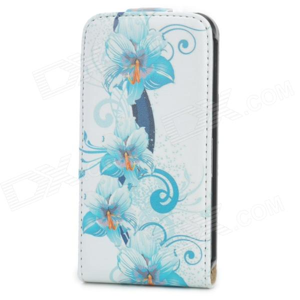 Fashionable Flower Pattern Flip-open PU Leather Case for Iphone 4 / 4S - Blue + White remax protective flip open pu leather case w visual window for iphone 4 4s white