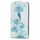 Fashionable Flower Pattern Flip-open PU Leather Case for Iphone 4 / 4S - Blue + White
