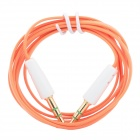 3.5mm Klinke Stecker auf Stecker Flach-Audio-Kabel - Orange (100cm Länge)