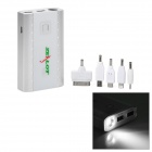 ZEALOT Z6 Dual USB 10400mAh Power Bank w/ 1-LED Flashlight for iPhone / Nokia - Silver + White