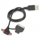 Unitek Y-C424 USB 2.0 to Micro USB / Mini USB / 30-Pin Data Charging Cable - Black (60cm)